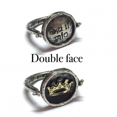 ANELLO DOUBLE FACE SIMBOLO CORONA